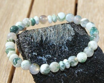 Clay tree agate beads and rings
