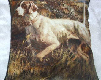 A lovely Pointer eagerly ready and waiting for action cushion