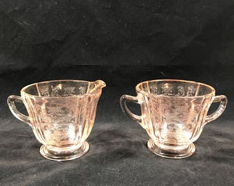 Indiana Glass Recollection Pink Glass Creamer and Sugar Bowl