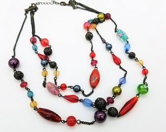 "Vintage Signed Avon Triple Strand Rainbow Glass Bead Necklace - Adjustable 18-21"""