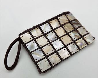 Vintage Hand Made Mother of Pearl Zippered Coin Purse / Wristlet