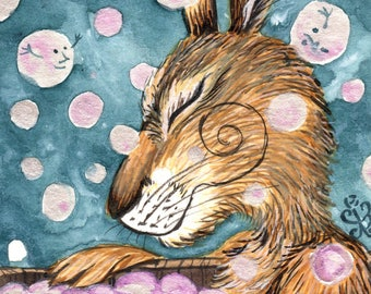 In the Tub - SIGNED A4 Archival Print. -  whimsical, magical, fantasy, - Matlock the Hare art print.