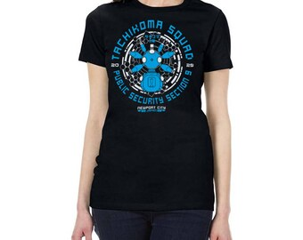 Tachi-Blue Squad Cyberpunk Gits Sci-Fi Anime Manga Ladies Slim Fit T-Shirt