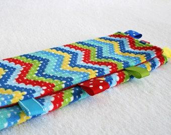 Taggie Blanket, Baby Tag Blanket, Sensory Development, Lovey, Security Blanket, Red Blue Yellow Green, Chevron Blanket, Tag Blanket