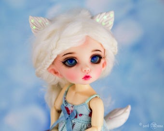 Arctic fox ears and tail for tiny (1/8) bjd dolls