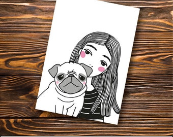 Pug Greeting Card -  Pug - Best friends
