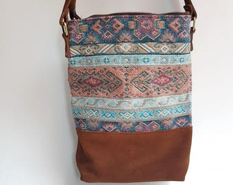 Unique Brown Leather Tote Bag / Original Ethnic Embroidery Tote Bag / Boho Style Bag / Tribal Tote Bag