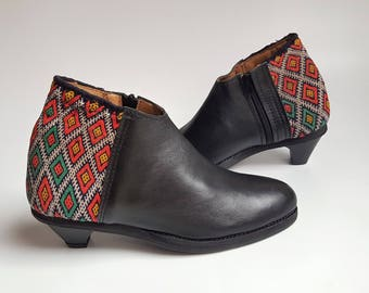 Exclusive Bootie Black Leather with red and blue kilim  US 7.5  UK 5.5   EU 38 / Unique Ankle Bootie / Boho style bootie