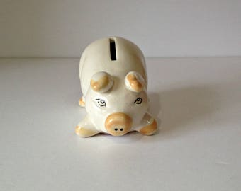 Vintage Pottery Piggy Bank, Ceramic Piggy Bank, Vintage Coin Bank, Retro Savings Bank, China Pig, China Money Box, Retro Piggy Bank, Piggy