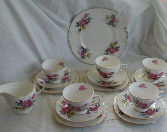 Royal Vale Pink Rose Design Fine Bone China Tea Set