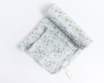 100% Cotton Muslin Baby Blue Bouquet Floral Print Baby Wrap Swaddle Blanket