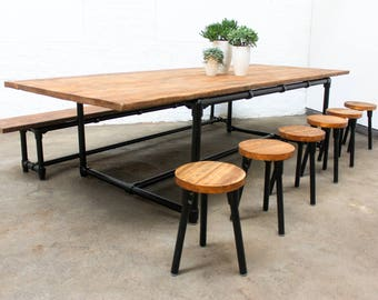Noralyn Large Dining or Meeting Table with Bench and 6 stools - Chestnut Stained Reclaimed Scaffolding Boards and Black Powder Coated Steel