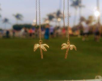 Palm Tree Earrings, Royal Palm, 14k gold fill, threader earrings