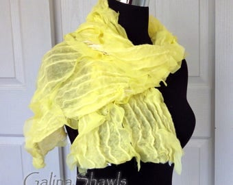 Lemon Yellow, Nuno Felted Scarf, OOAK, Handmade, Merino Bamboo, Chiffon, Hippy Style, Bohemian Fashion, Boho Shawl, Gift for her, Felt Shawl