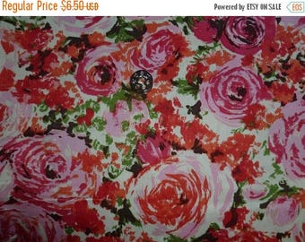 20% Off Gertie by Gretchen Hirsch for Fabric Traditions NTT Inc. Large Pink and Orange Retro Stylized Rose/Floral Print Blend Fabric - Half