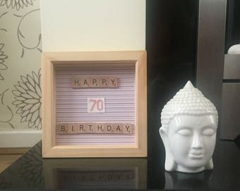 70th Birthday Box Frame with cross stitch numbers in pink