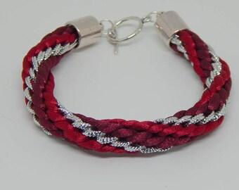 Beaded braided kumihimo Burgundy silver