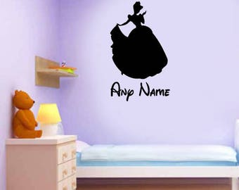Personalised Disney Wall Art - Add Any Name - Cinderella Silhouettes