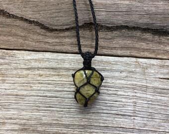 unakite macrame crystal necklace