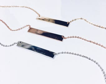 Token Narrow Bar Necklace