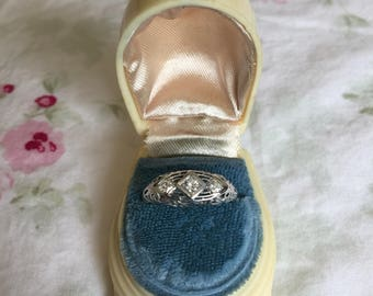 Vintage Shabby Chic/Victorian/Art Deco Ring Presentation Box