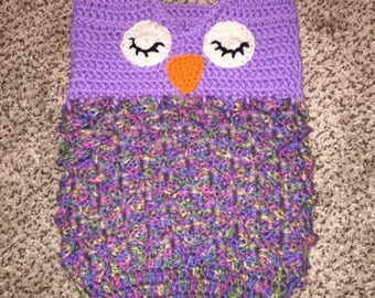 Crochet owl cocoon and matching beanie/headband