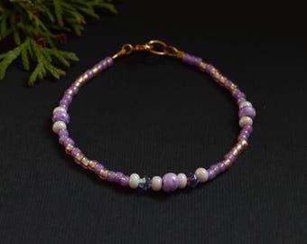 Purple bracelet amethyst bracelet Friendship bracelet bead Minimalist bracelet Beaded bracelet Delicate bracelet Seed Bead bracelet