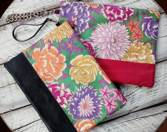 Floral handbag clutch bag