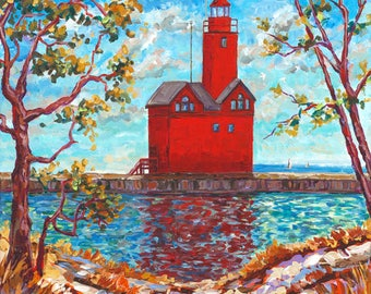 Big Red, Holland Michigan, Holland State Park, Ottawa Beach, Lighthouse, Beach, Water, Sand, Dunes, Fine Art Print, Giclee, Canvas Print