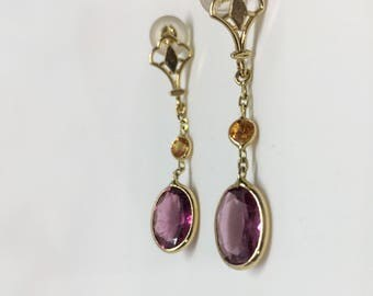 14K Yellow Gold Natural Pink Tourmaline (3.00 ct) and Natural Yellow Sapphire Earrings, Appraised 2,250 CAD