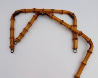 2 Vintage Cane Bamboo Bag Handles, Crafting Bag Handles, Handbag Handles