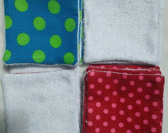 Washable wipes in organic bamboo - polka dot patterns