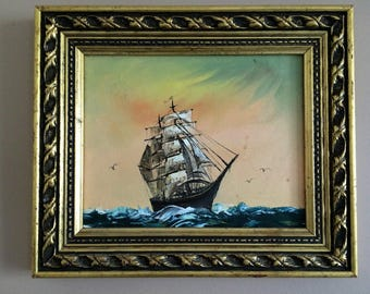 Original Vintage Oil Painting. Seascape with Sail Ship Painting in Ornate Gilded Frame. Framed Art. Framed Oil Painting ROP0257
