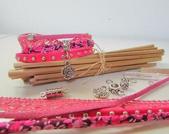Cuff Bracelet fuchsia, liberty, Kit, Pearl charm, clasp - 111