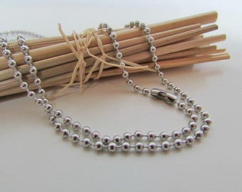 ball chain necklace 60cm neck steel stainless mesh round 2 mm - 70.50