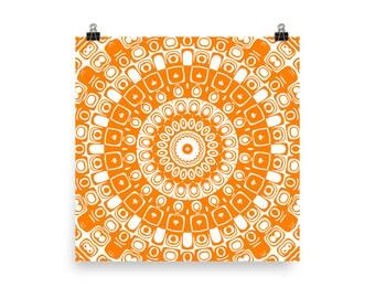 Orange Wall Art, Abstract Orange and White Mandala Art, Home Decor in Orange, Prints