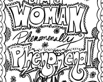 maya angelou quote phenomenal woman coloring page digital download 85x11