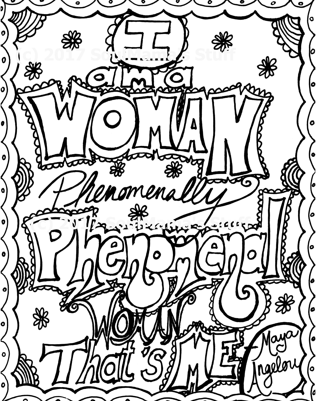 Maya Angelou Quote Phenomenal Woman Coloring page digital