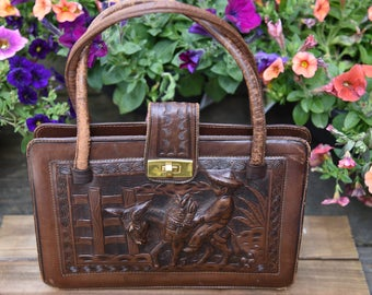 Vintage 1950s Hand Tooled Leather  Purse /handbag Boy with donkey Mexico