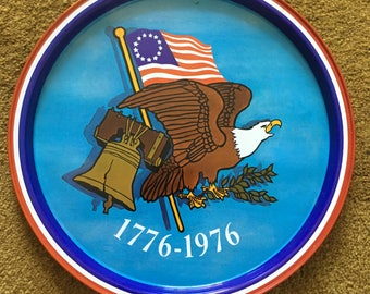 Vintage Bicentennial Beer Tray with Eagle