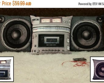 ON SALE Boombox and Speaker Pillow Cover Set, Set of 3, Retro Cushion Cover, Filling Not Included