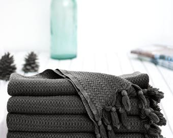 Black Smoke Stonewashed Throw | % 100 Cotton Beach Throw