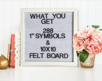 Letterboard, 10x10 Letter Board White Felt, Message Board, Letterboard Letters, Cubicle Decor, Memo Board, Message Center, Felt Boards