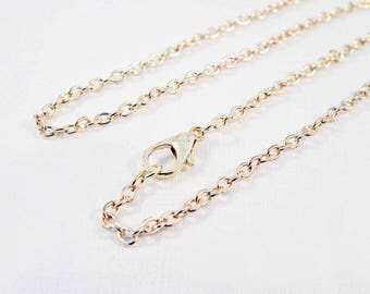 SBC74 - Necklace chain 45cm gold light pink hues with lobster clasp
