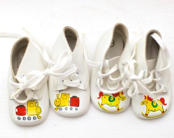 Vintage Leather Baby Shoes | Hand Painted