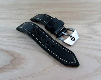 Horween Chromexel leather custom Panerai watch band 24 mm.