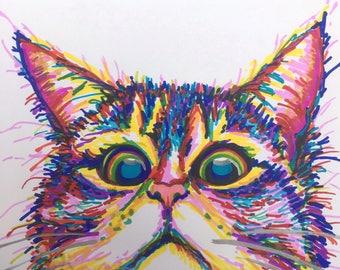 Peekaboo Cat-Colourful-Size A4-Sharpie On Cartridge Paper