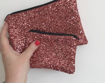 Rose gold evening bag, rose gold clutch bag, rose gold bag, rose glitter bag, rose bag, evening bag, clutch bag