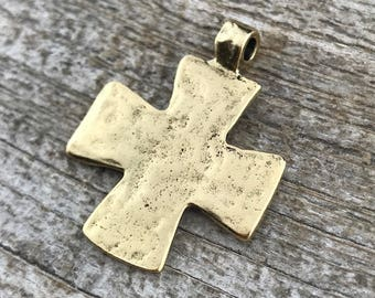 Hammered Cross Pendant, Gold Cross, Leather Pendant, Artisan Cross, Religious Jewelry, Cross Charm, Christian Jewelry, Gift for Her, Finding