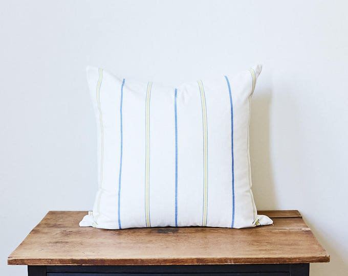 "Blue, Yellow and White Stripes Fabric Pillow 20"" x 20"""
